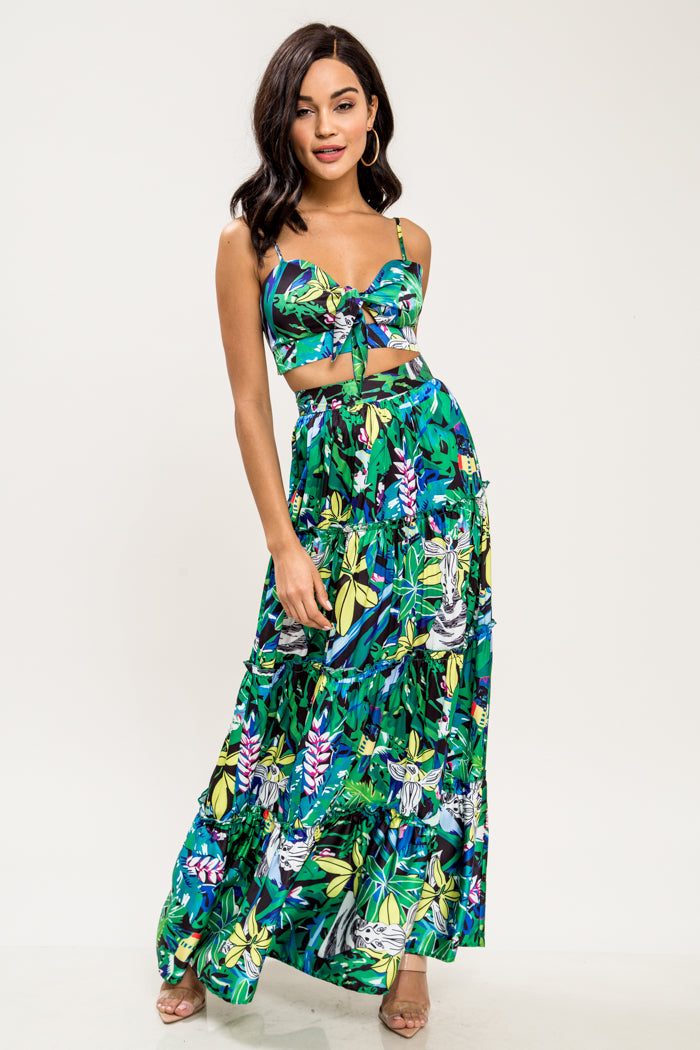 Hawaiian Islands Tropical Maxi Skirt Set - Geegeebae