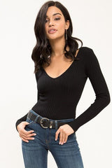 Riley Long Sleeve Rib Bodysuit - Geegeebae