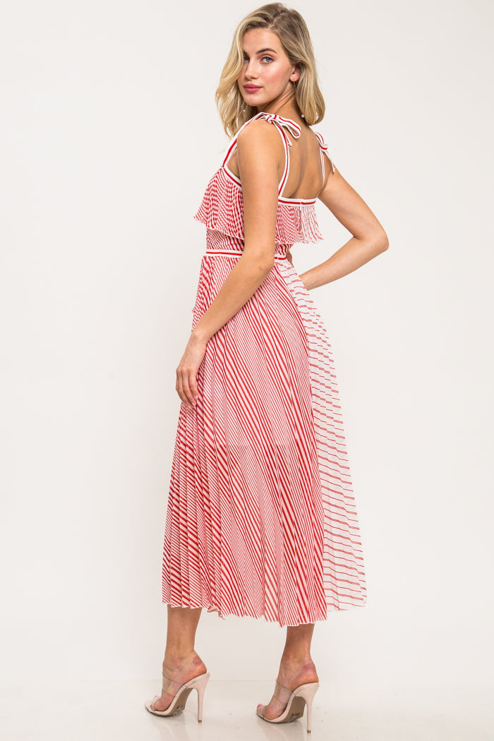 Kelsey Pleated Stripe Mix Maxi Dress