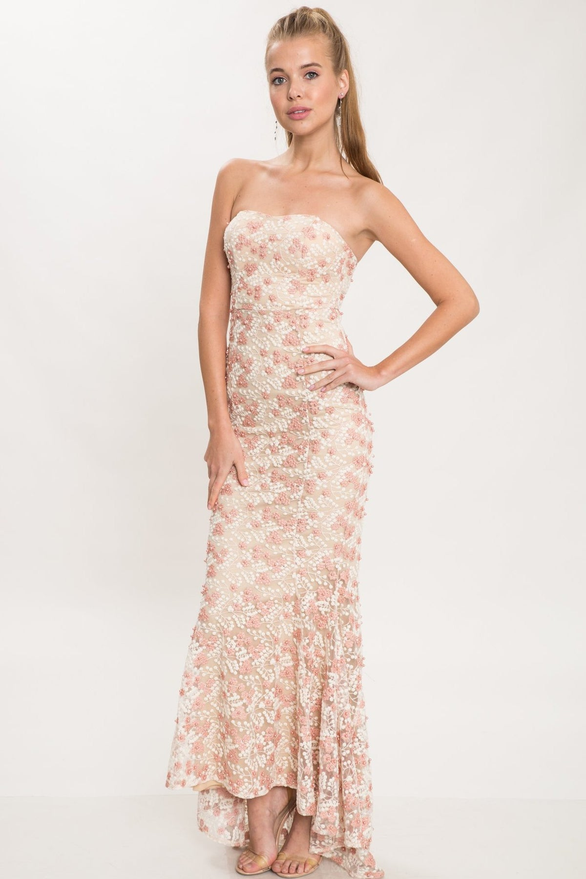 Bubble Gum Strapless Pearl Lace Gown - Geegeebae