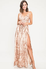Hollywood Double Slit Front Sequin Gown - Geegeebae