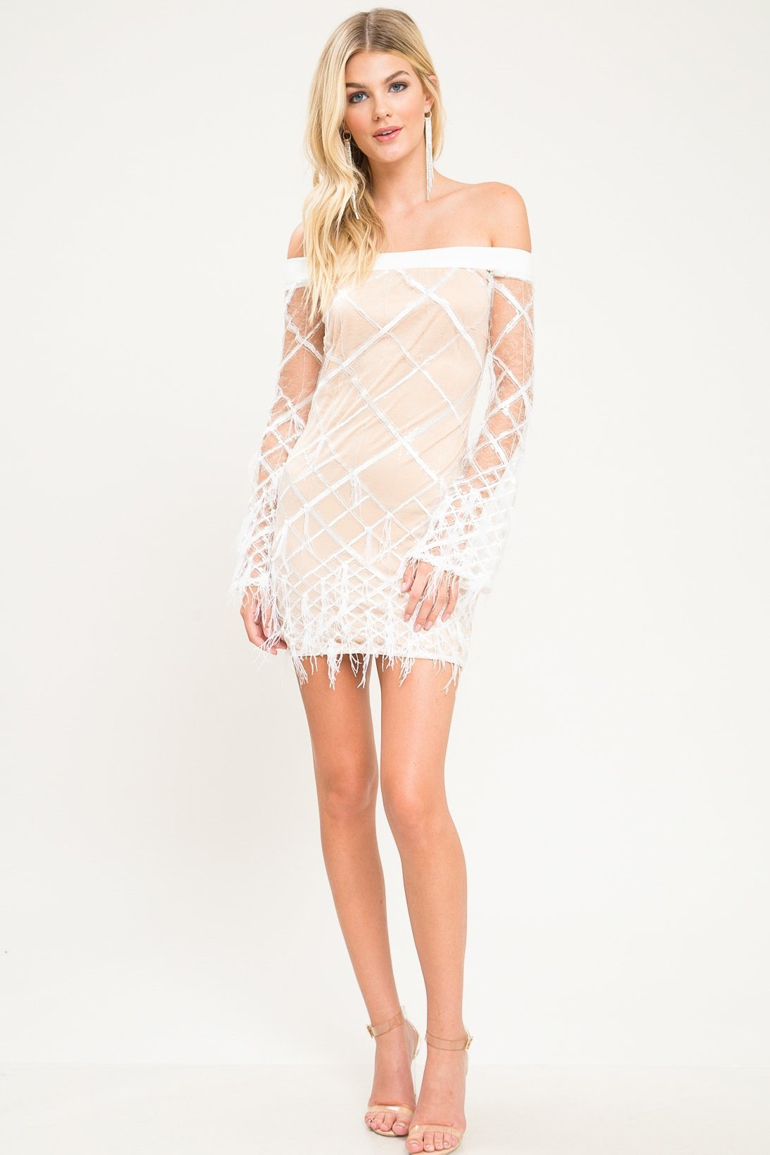 Venus Feather Off Shoulder Mini dress - Geegeebae