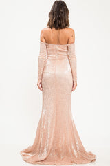 Lauren Off Shoulder Sequin Gown - Geegeebae