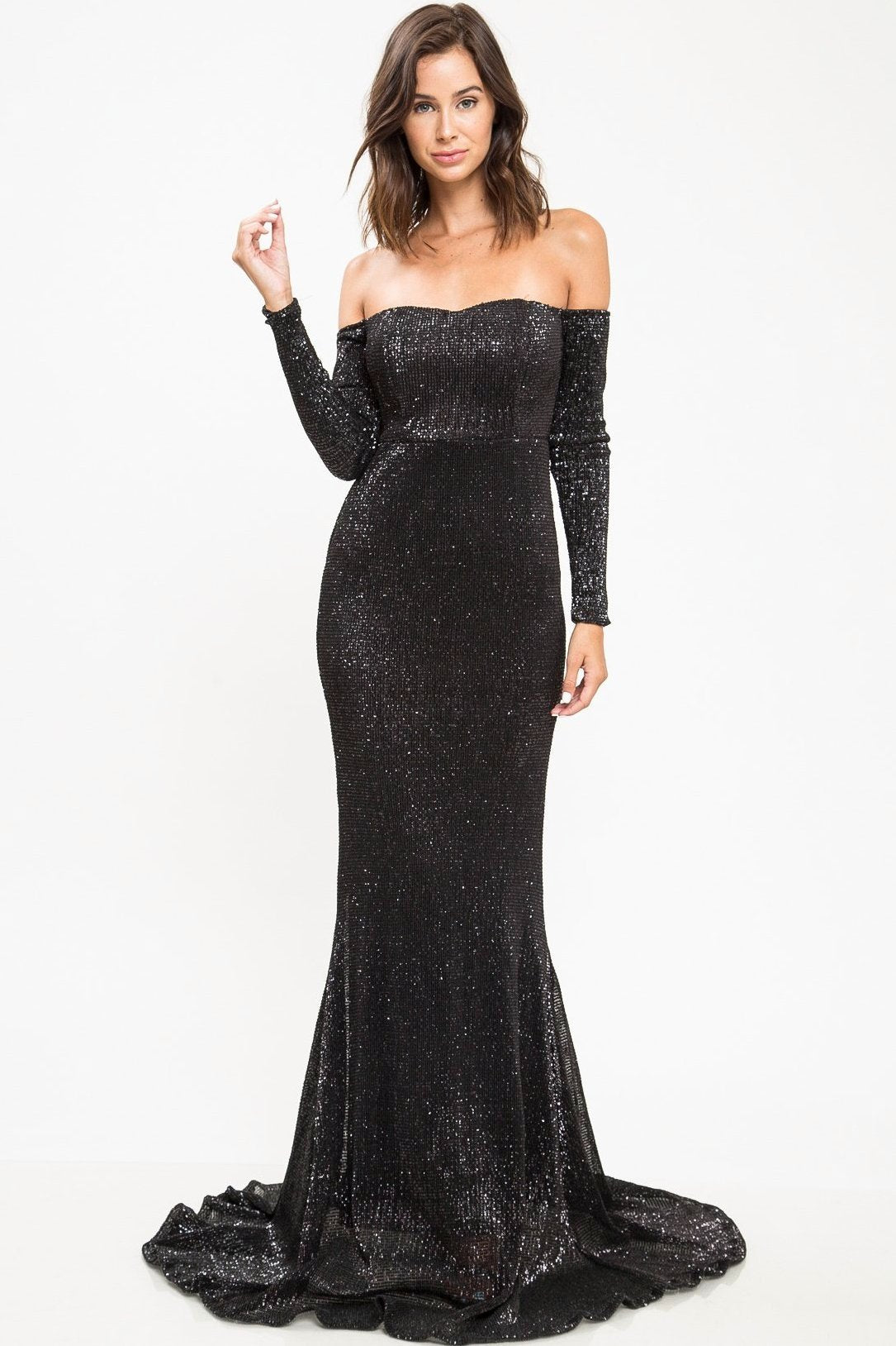 Lauren Off Shoulder Sequin Gown