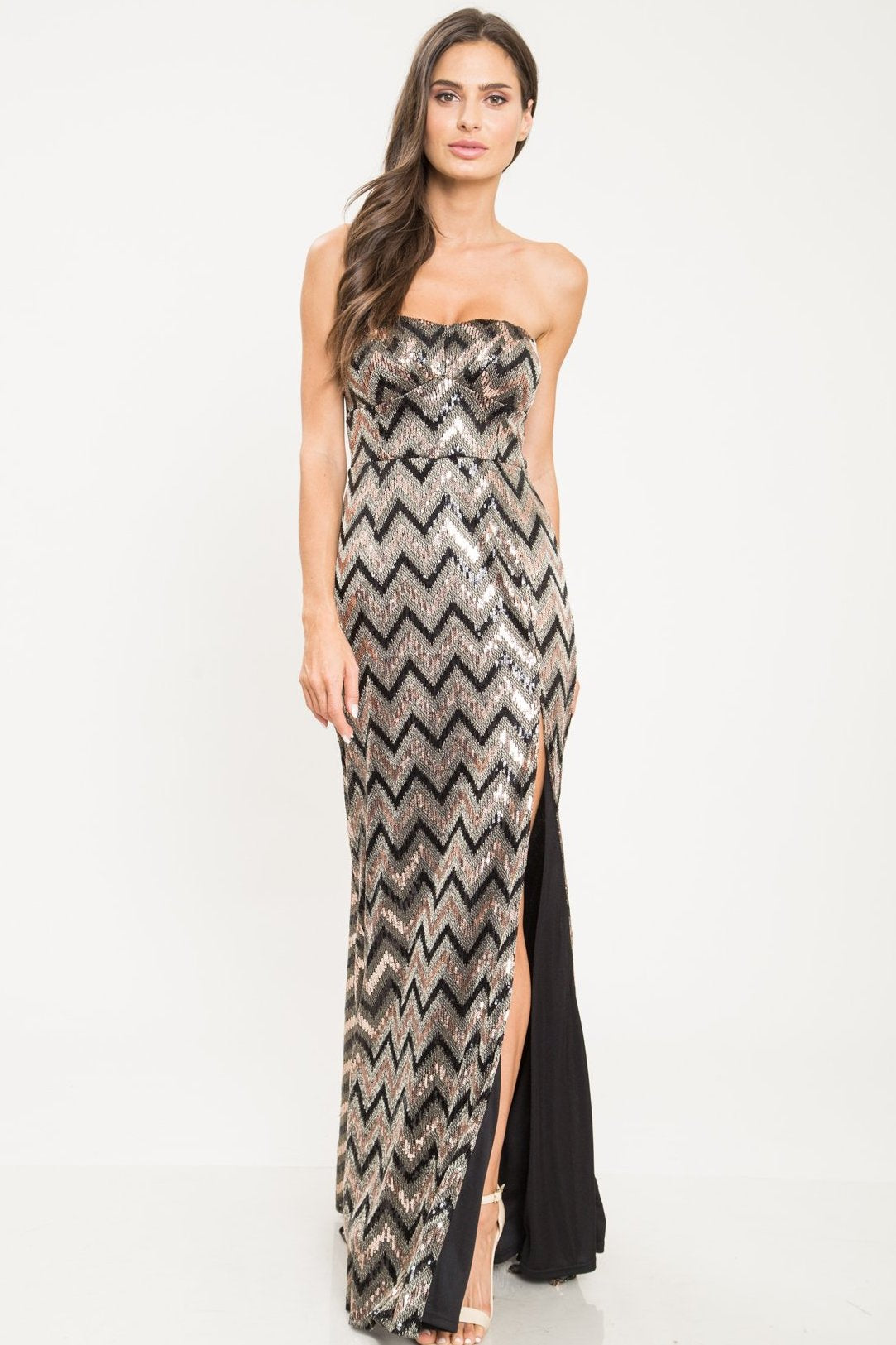 Heather Strapless Sequin Column Gown - Geegeebae