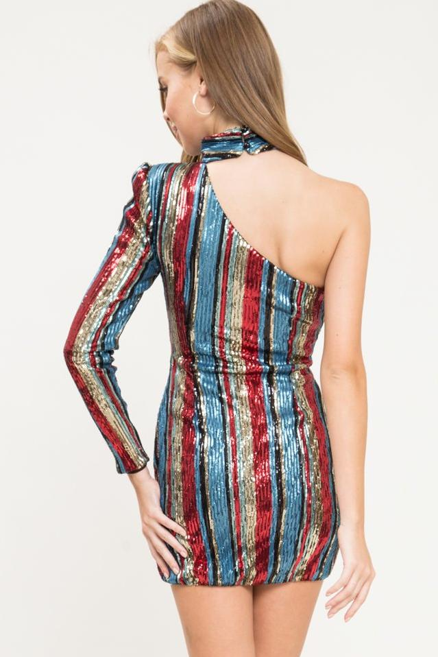 Vegas Stripe Sequin Mini Dress