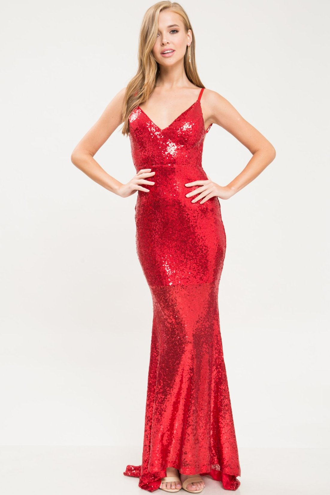 Lady In Red Sequin Gown