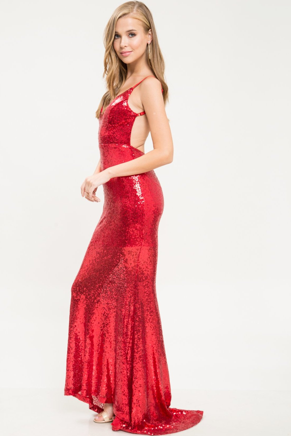 Lady In Red Sequin Gown - Geegeebae