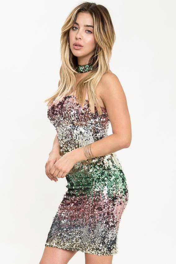 Kiara Ombre Sequin Mini Dress - Geegeebae