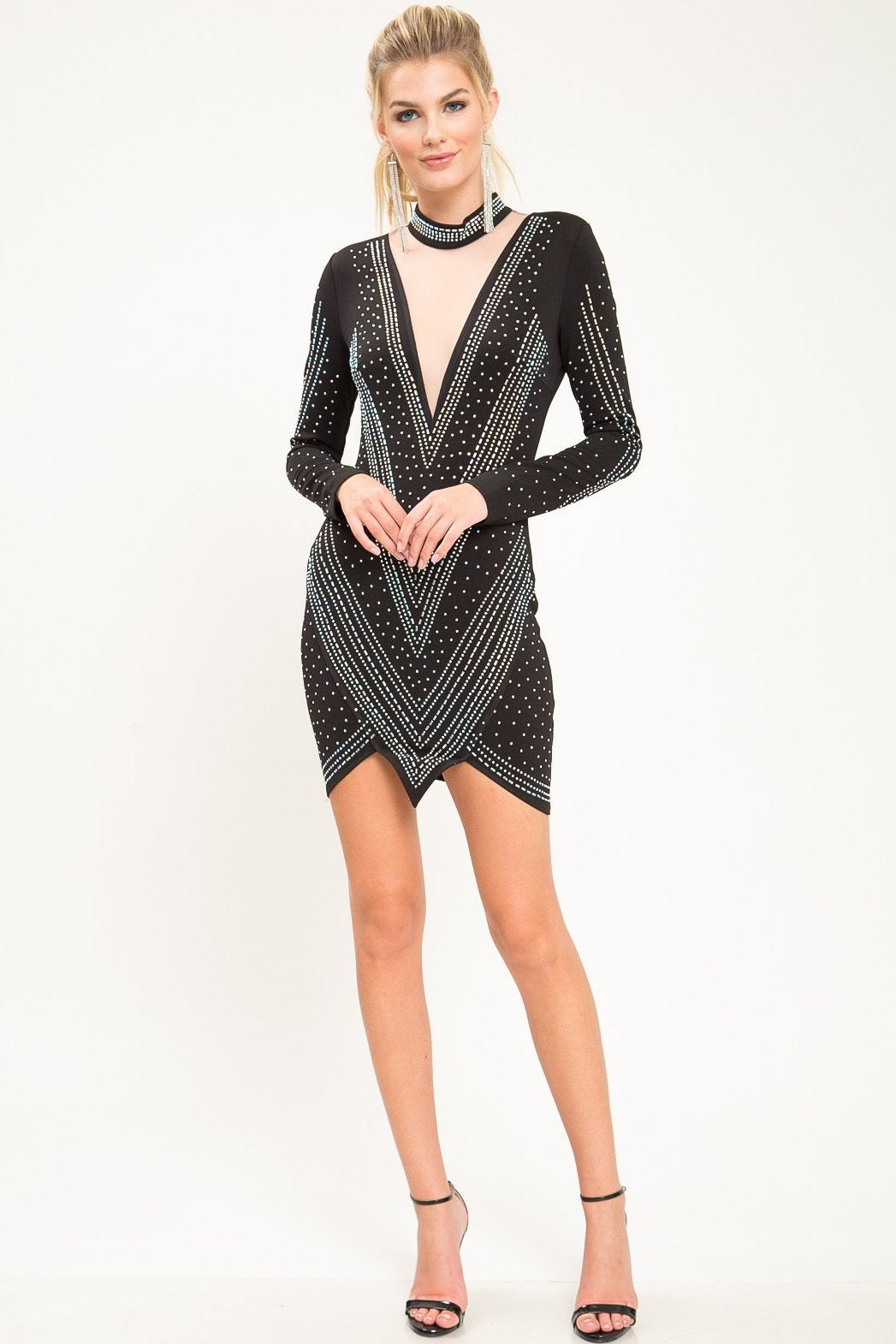 No Tears Rhinestone Mini Dress - Geegeebae
