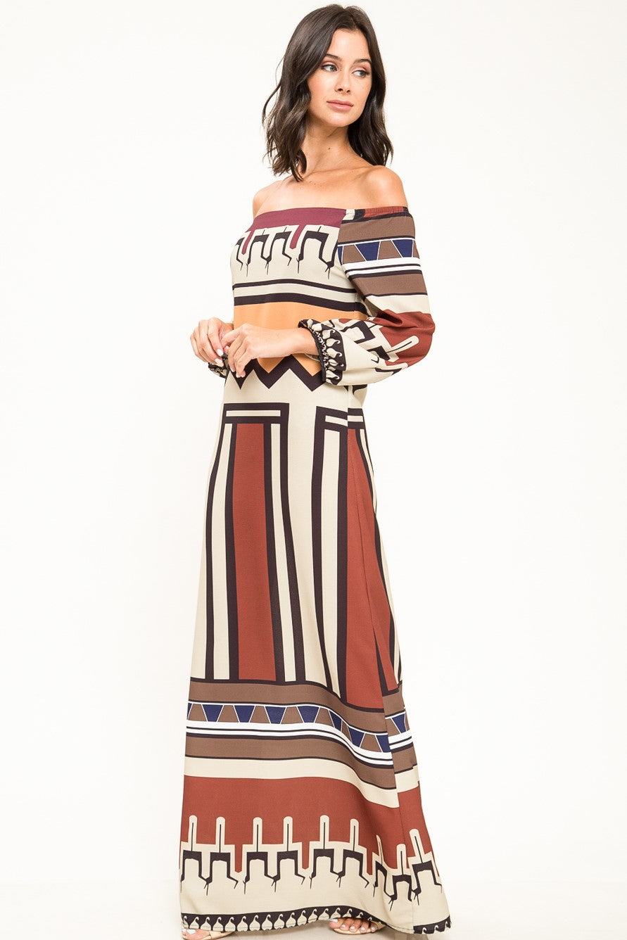 Agnes Off Shoulder Print Maxi Dress - Geegeebae