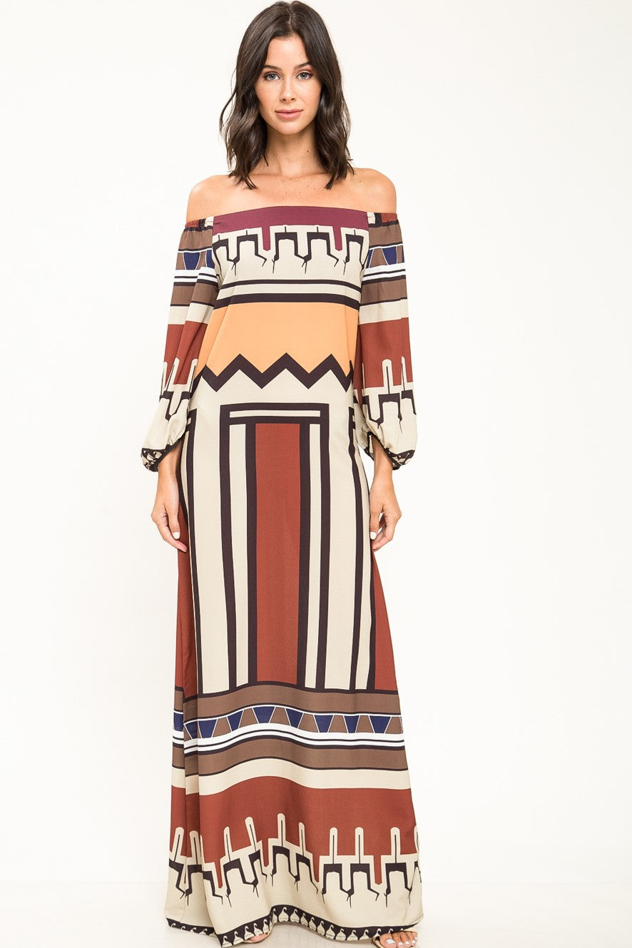 Apollina Off Shoulder Print Maxi Dress - Geegeebae