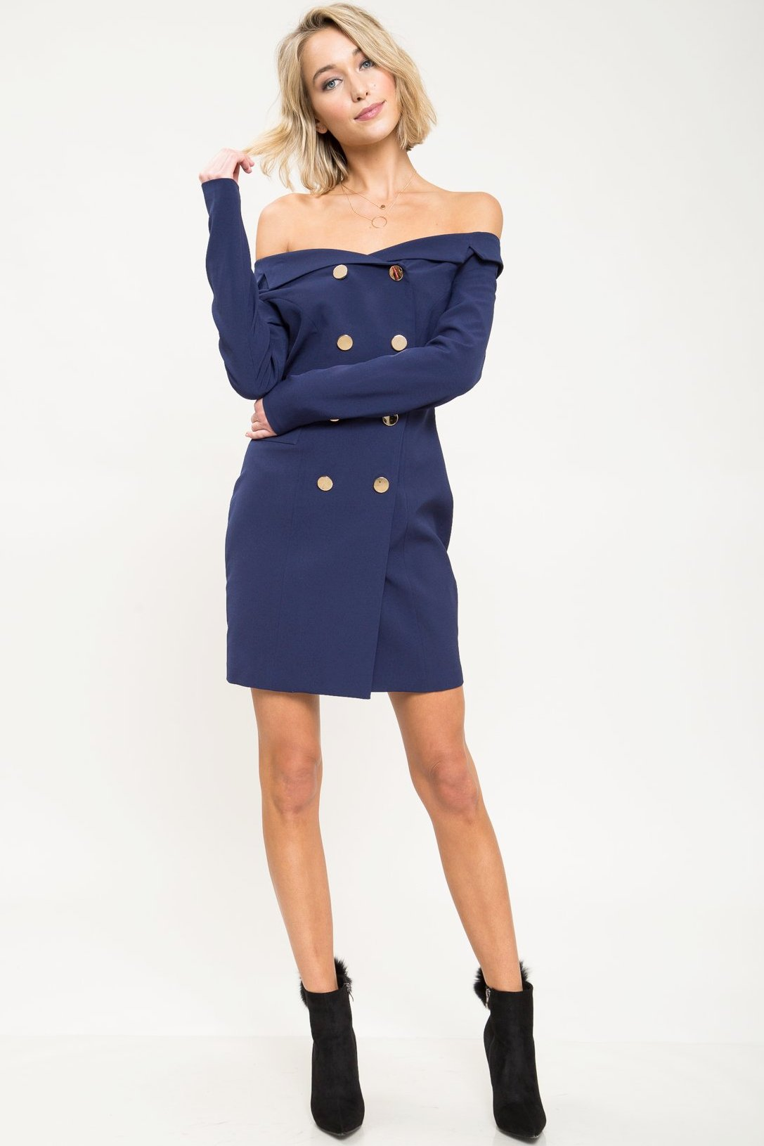 Noticed Off Shoulder Blazer Dress - Geegeebae