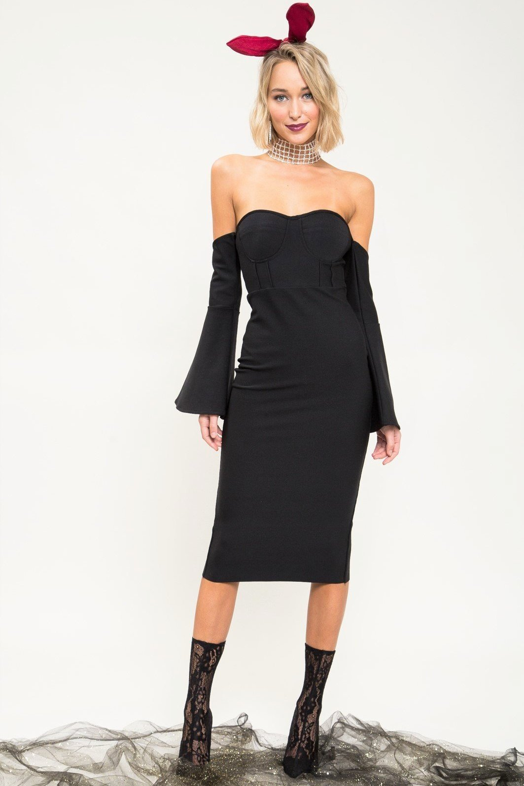 Stay Dangerous Bodycon Midi Dress - Geegeebae