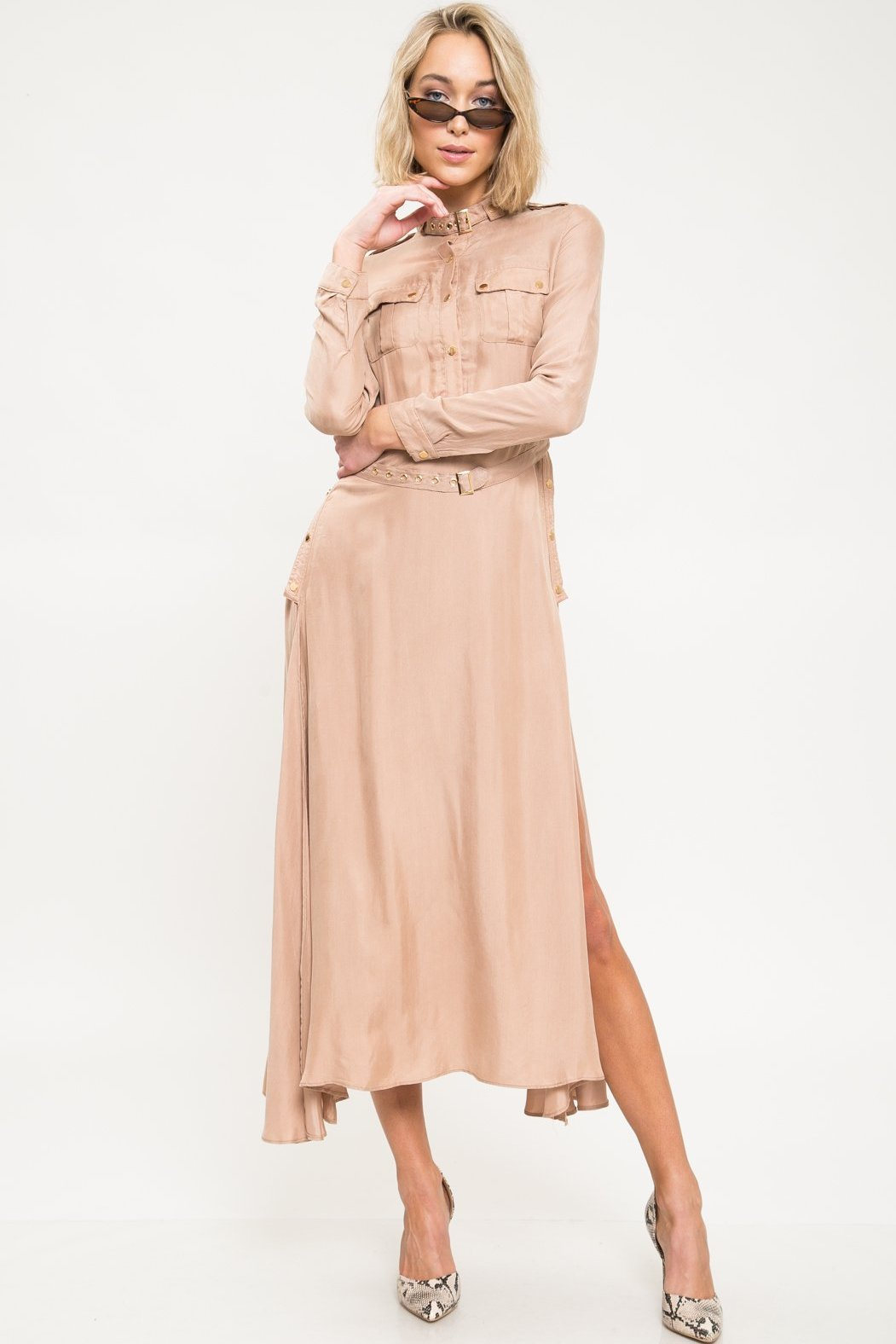 Noelle Long Sleeve Cupro Maxi Dress - Geegeebae