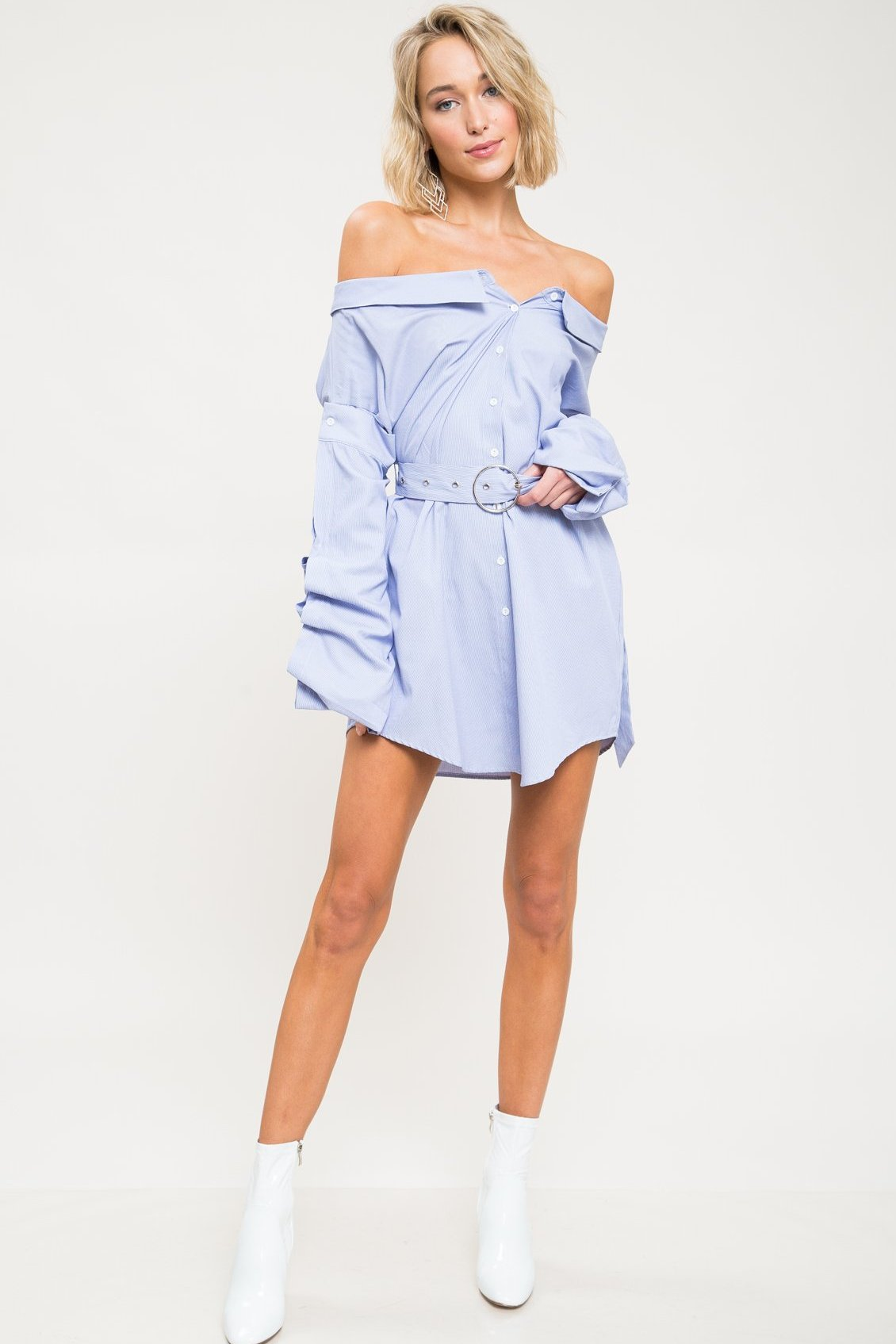 Livvy Off Shoulder Shirt Dress - Geegeebae