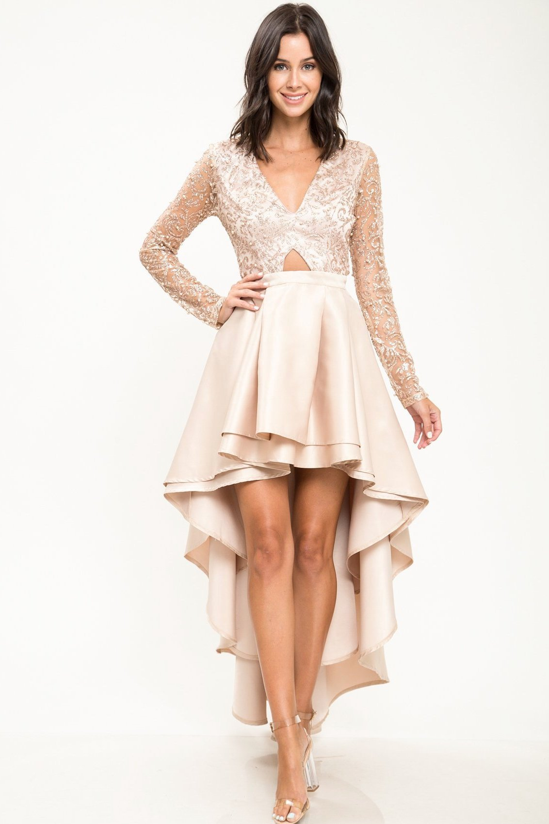 Leah Pearl Glitter High-Low Dress - Geegeebae