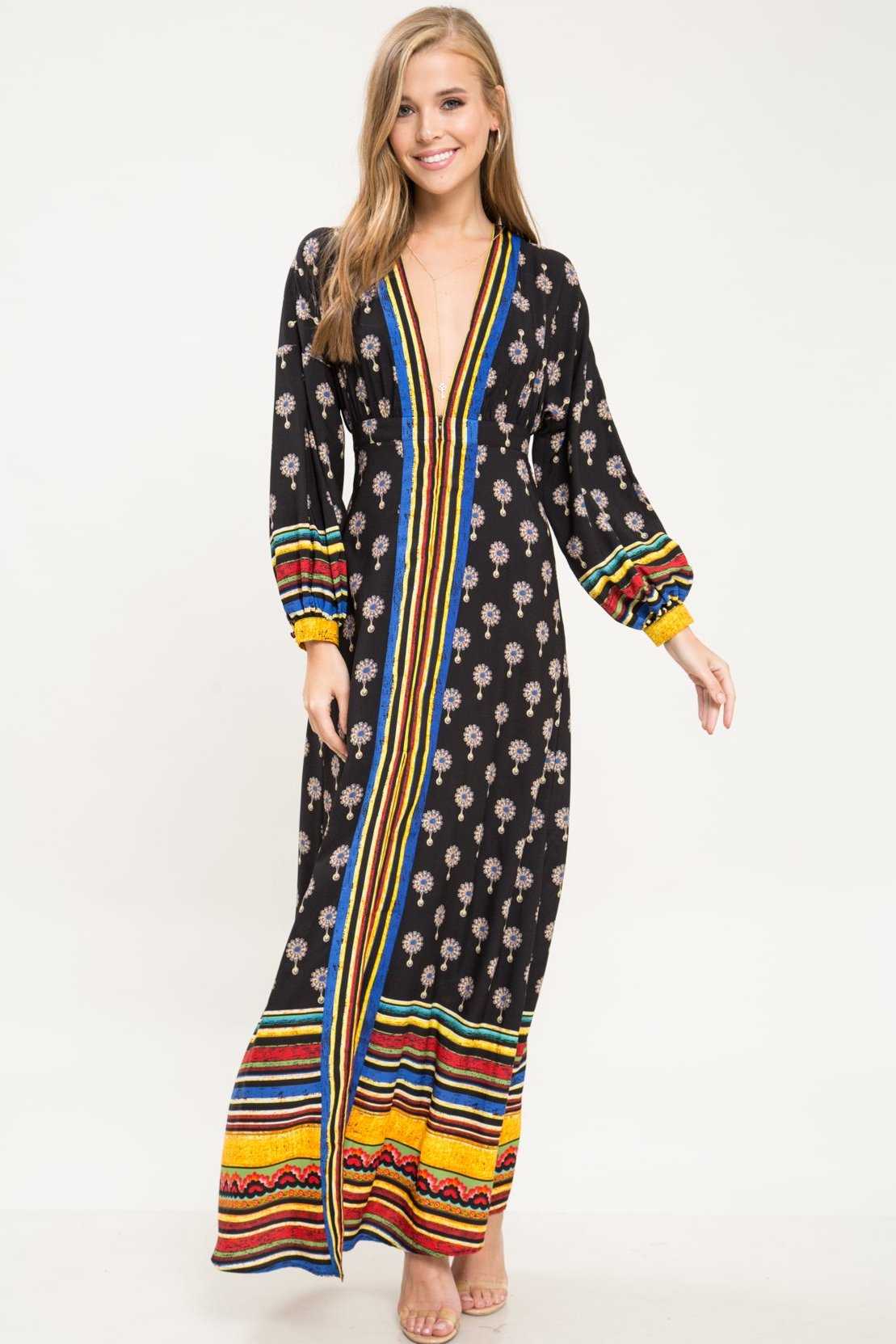 Imagine Boho Zip Up Maxi Dress - Geegeebae