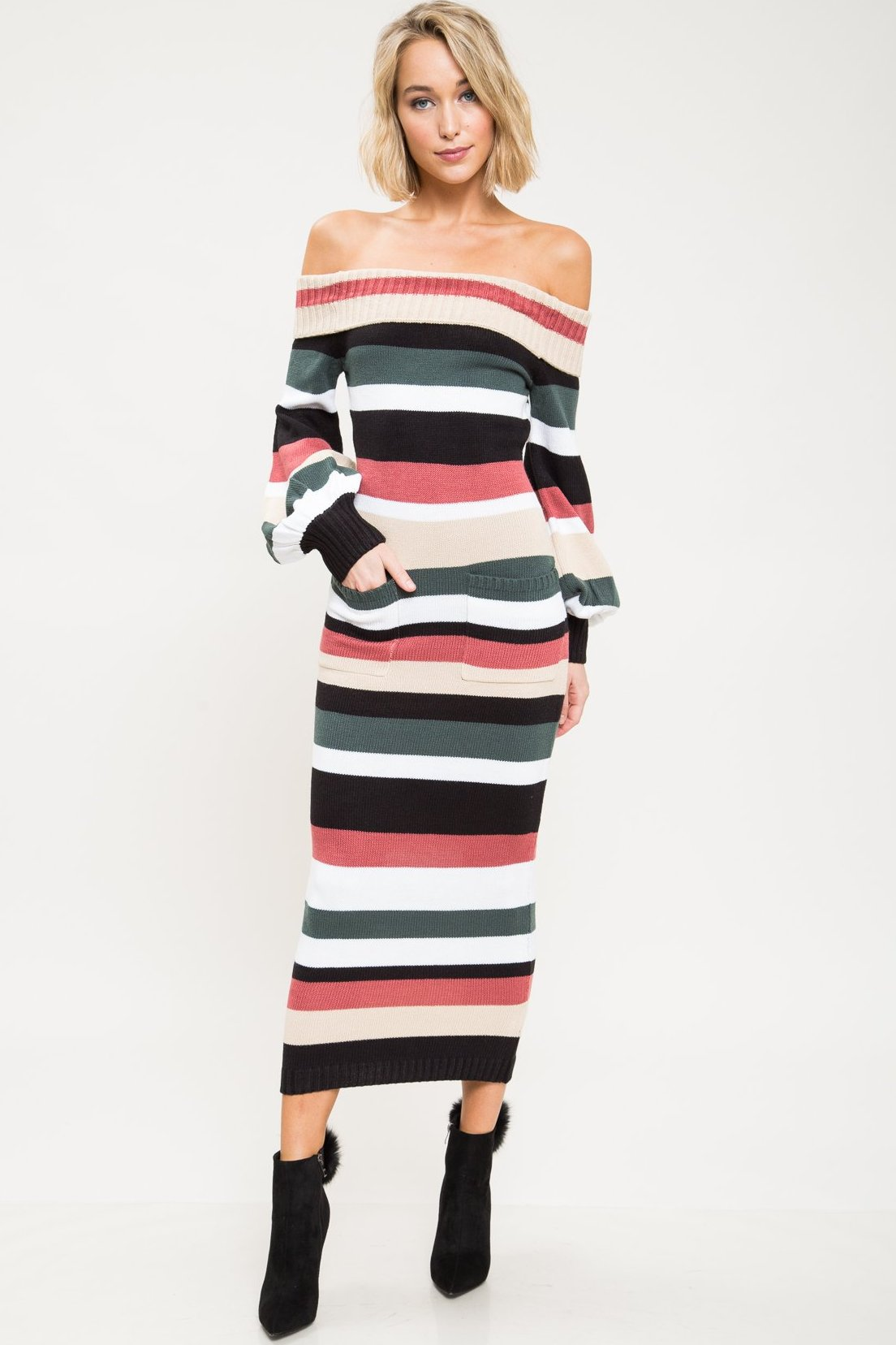 Ebony Stripe Sweater Maxi Dress - Geegeebae