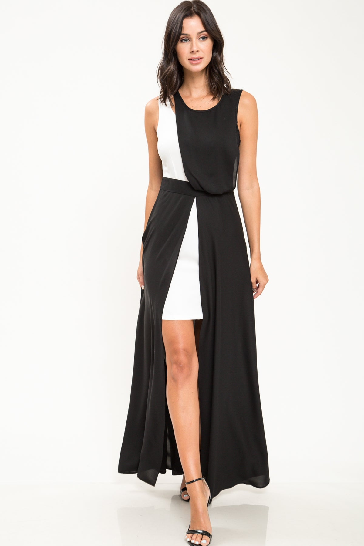 Black And White Contrast Maxi Dress - Geegeebae