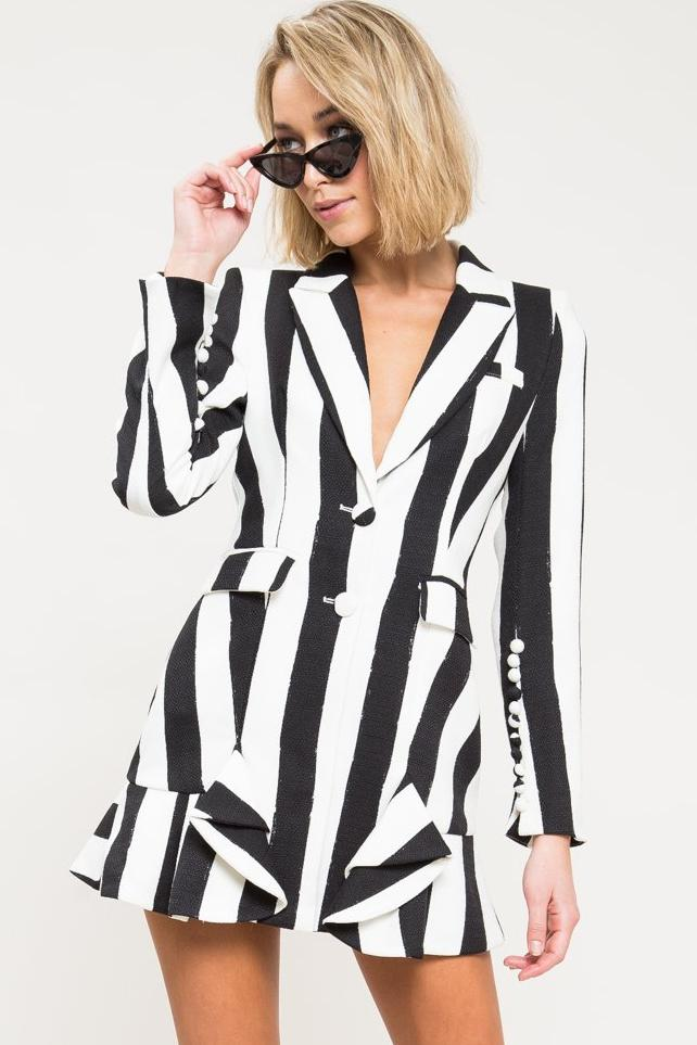 If I Were A Boy Stripe Blazer Dress
