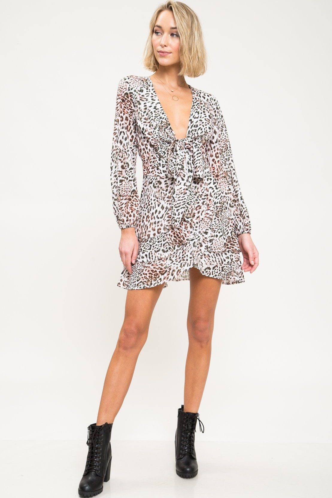Kitty Leopard Print Mini Dress - Geegeebae