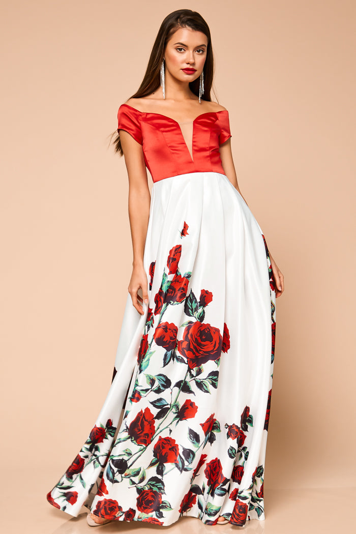 American Rose Pleated Maxi Dress - Geegeebae