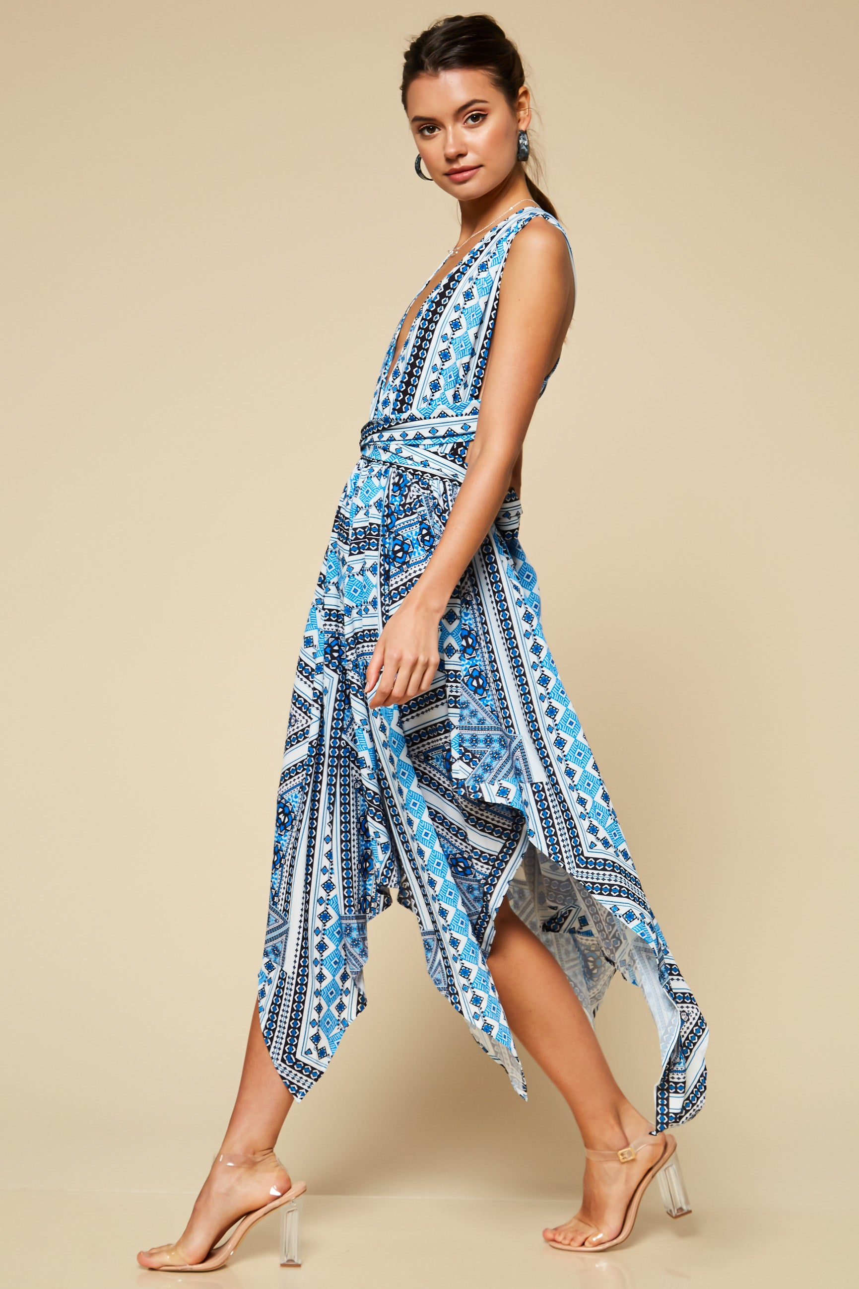 Kida Asymmetrical Multi-Print Midi Dress - Geegeebae