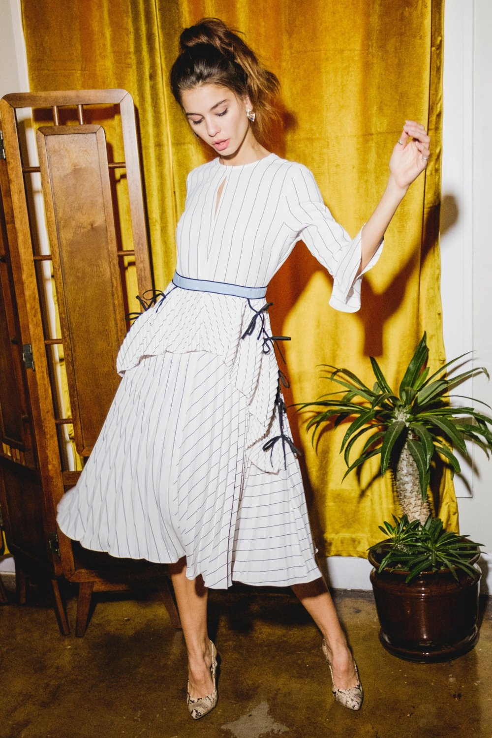 Mia Pleated Stripe Midi Dress - Geegeebae