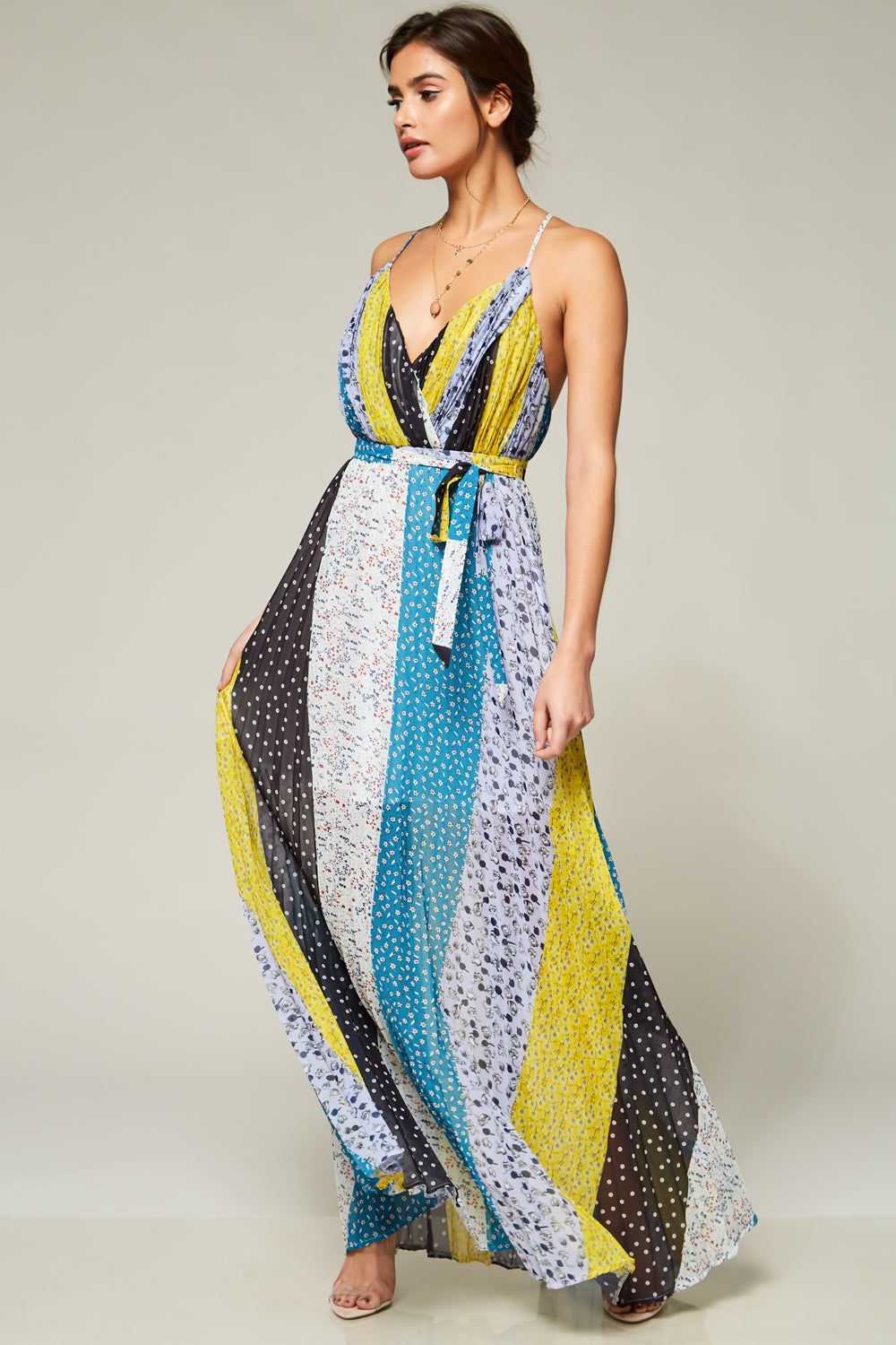 Enchanted Forest Mixed Print Pleated Maxi Dress - Geegeebae