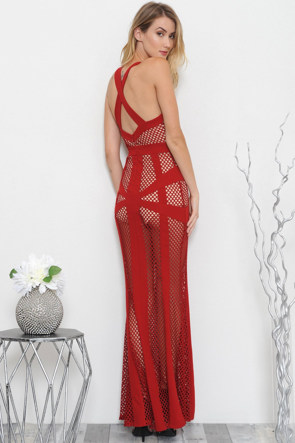 Breanna Fishnet Maxi Dress - Geegeebae