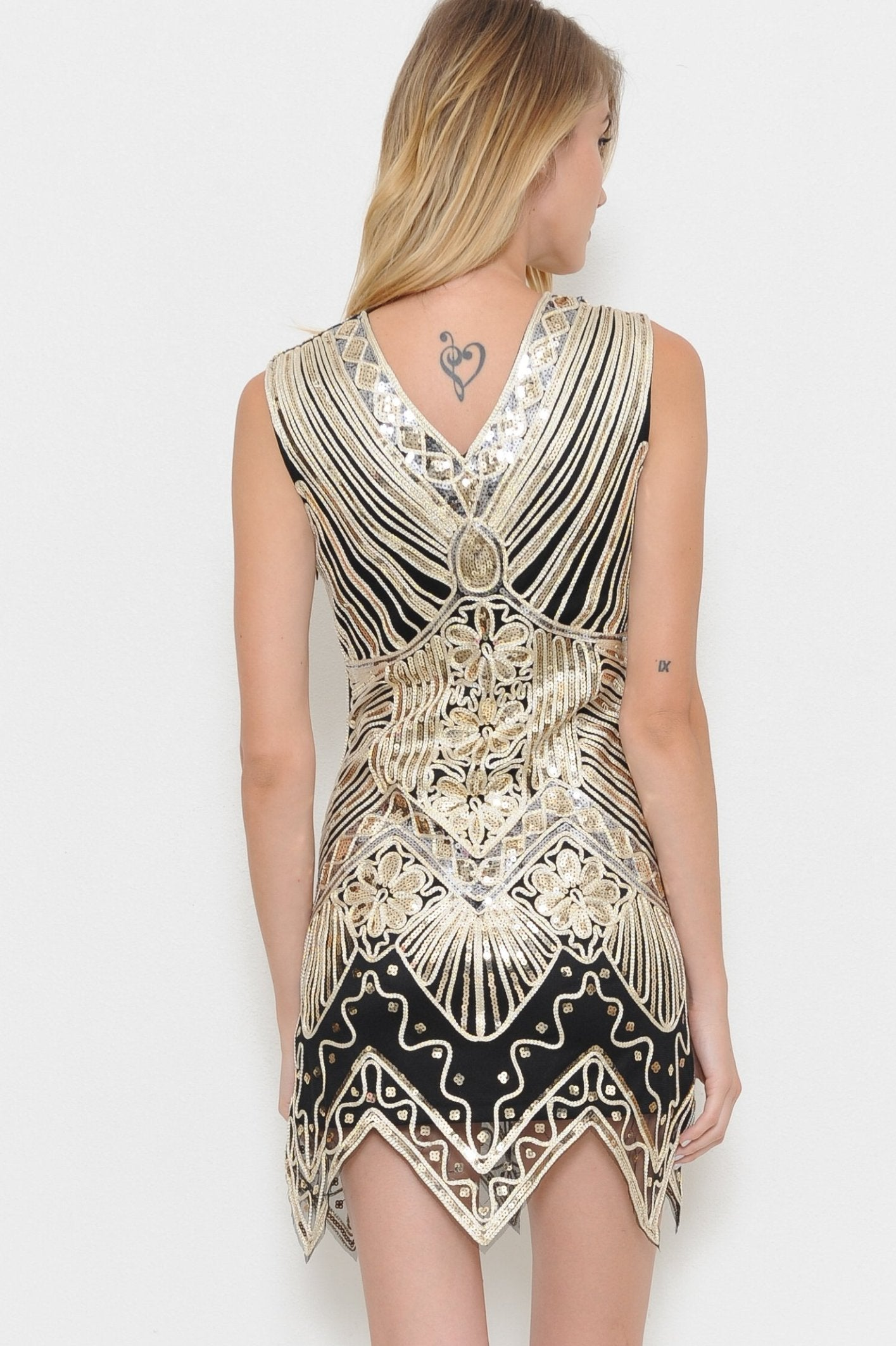 Let Me Love You Gold Mini Dress - Geegeebae