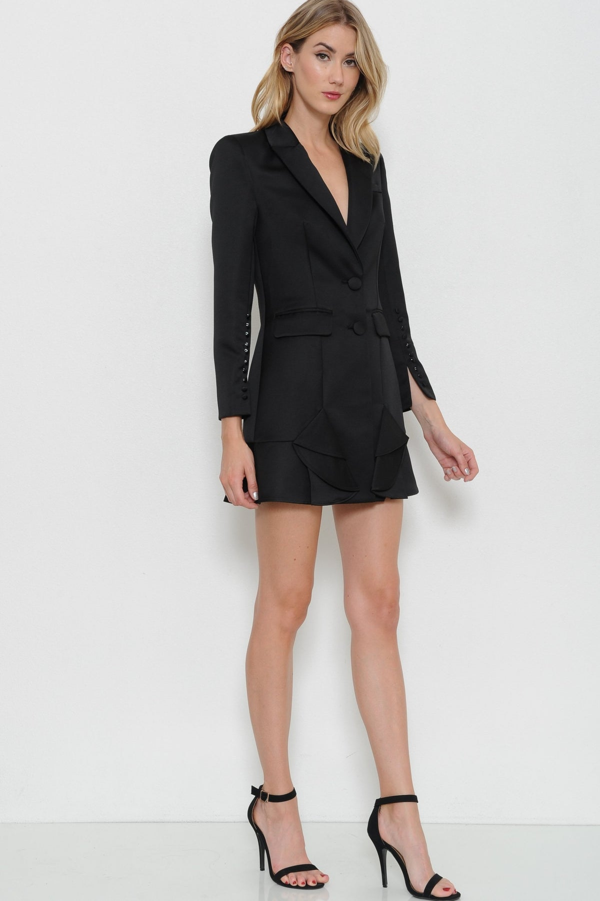 If I Were A Boy Solid Blazer Dress - Geegeebae