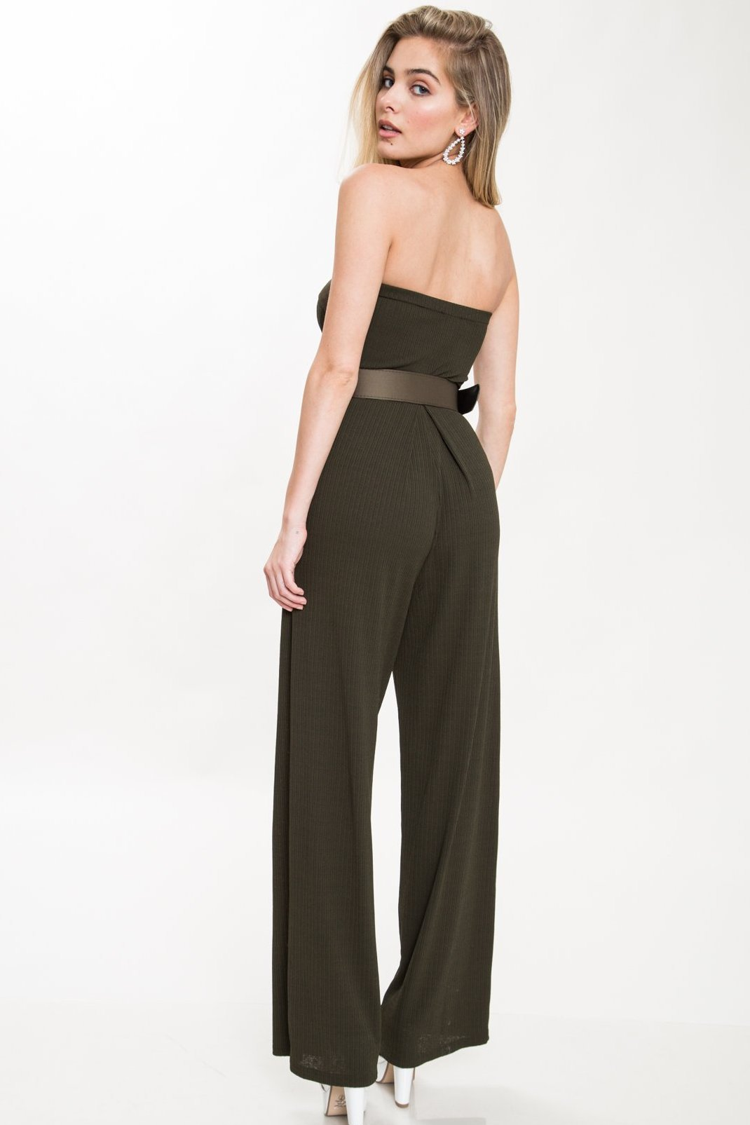 Moving On Belted Strapless Jumpsuit - Geegeebae