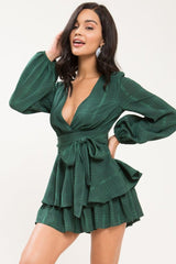 Sweet Lovin' Romper-Hunter Green