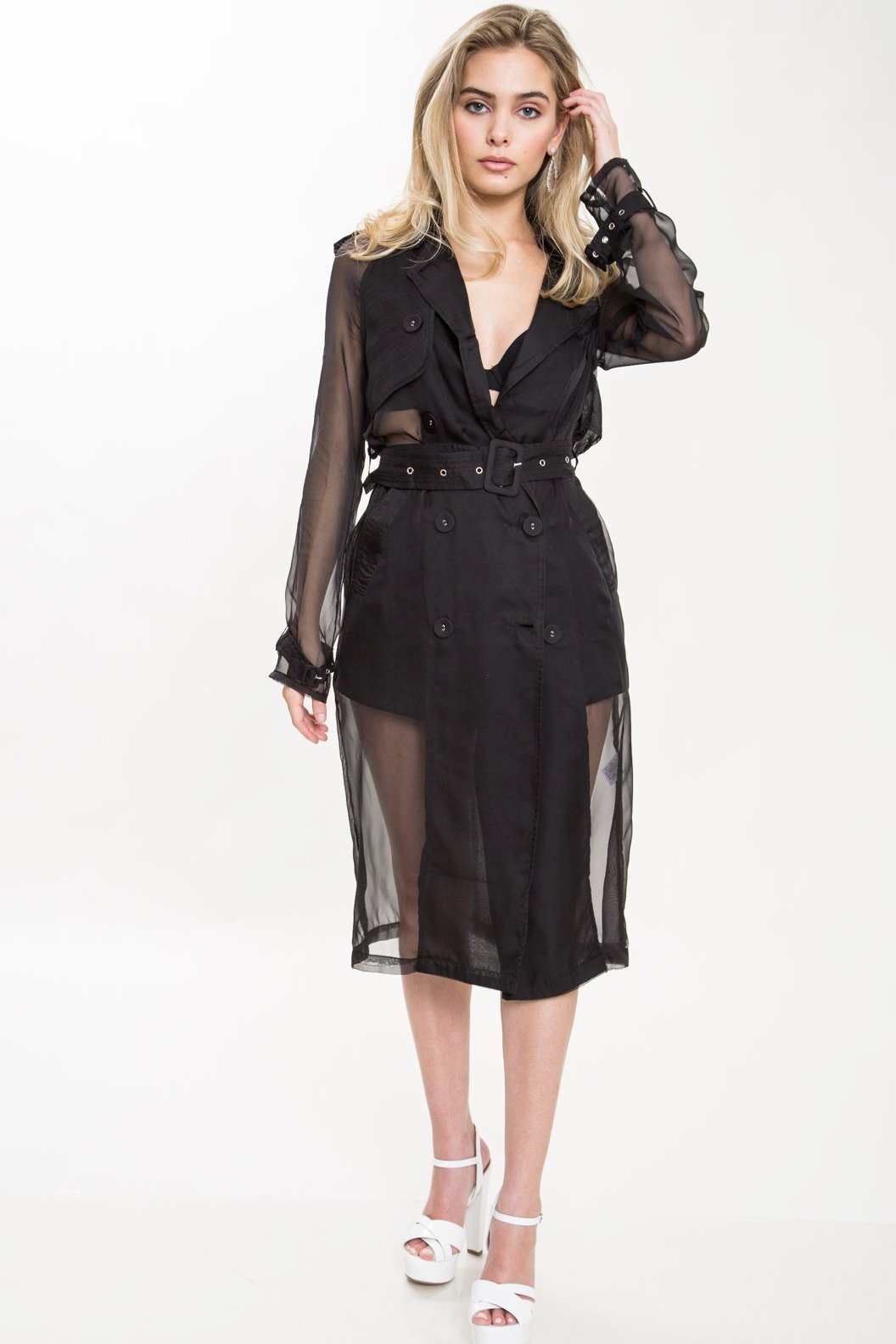 Yana Sheer Organza Trench Coat