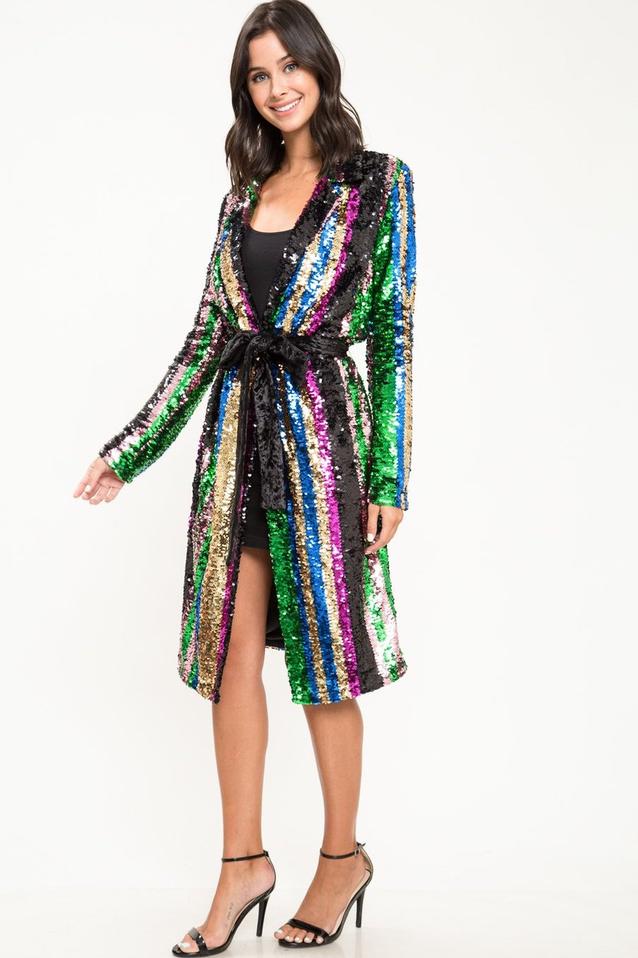 Super Pop Stripe Sequin Blazer - Geegeebae - L'atiste - Front view