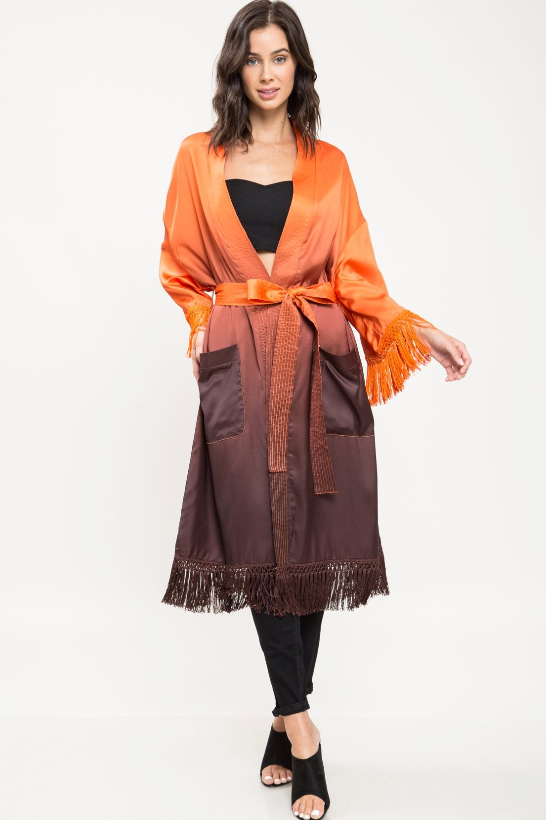 Sunset Satin Fringe Robe