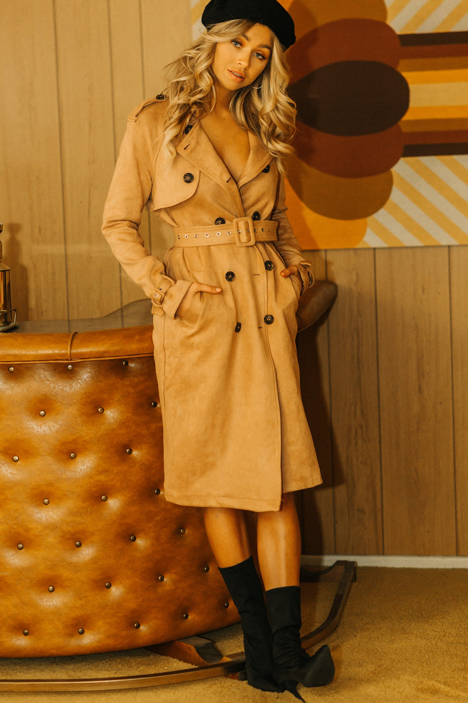 Mia Faux Suede Trench Coat