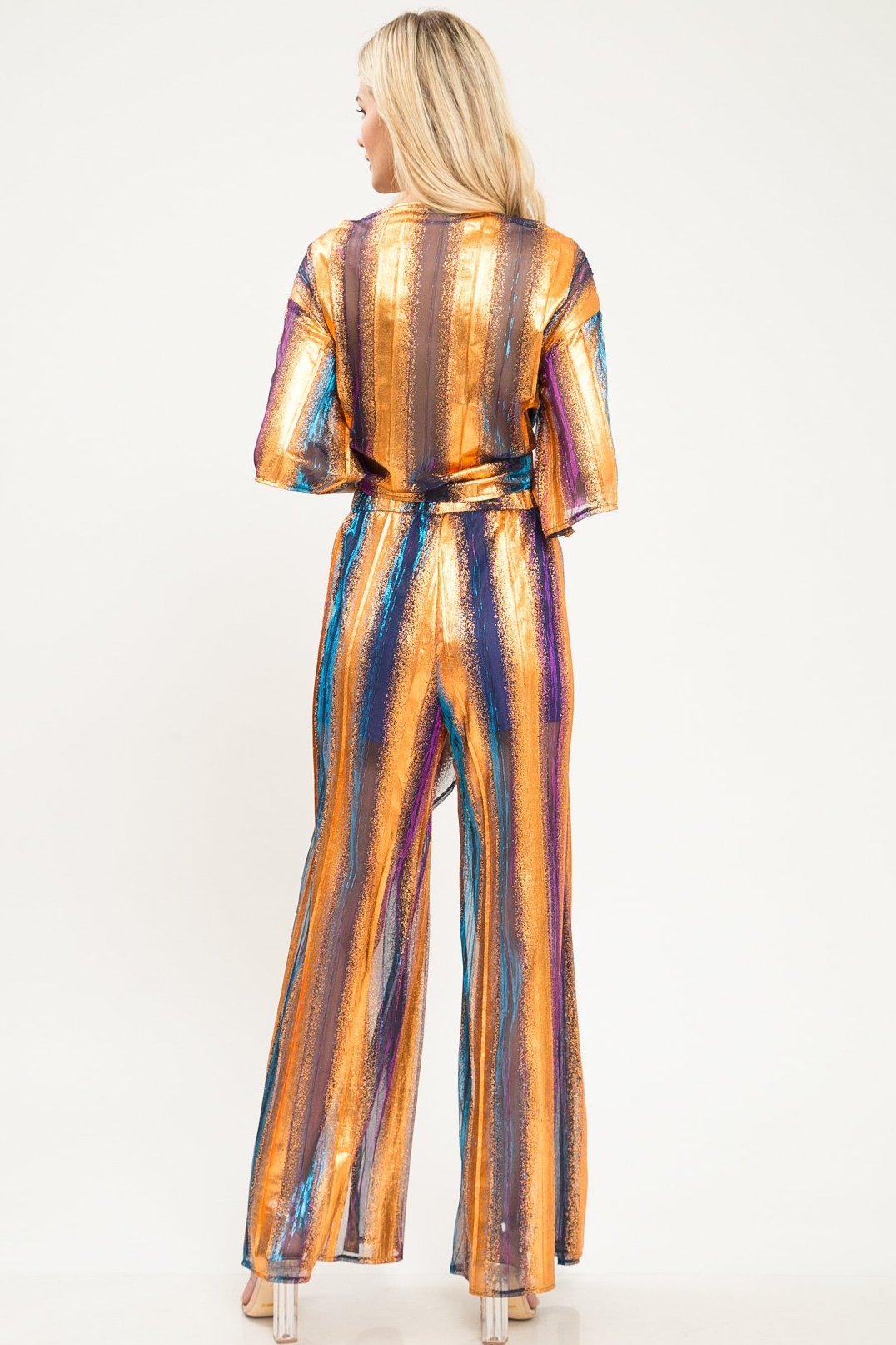 Joy Metallic Stripe Pants Set - Geegeebae
