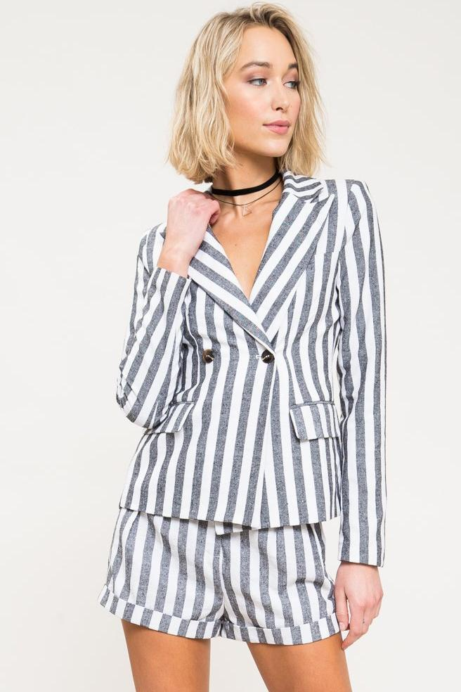 Molly Stripe Linen Blazer Set - Geegeebae