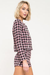 Je T'aime Plaid Tweed Jacket Set - Geegeebae