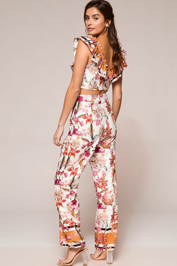 Juliette Floral Border Print Pants Set - Geegeebae