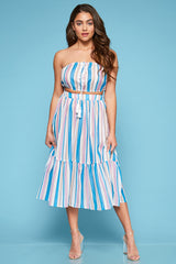 Off to Malibu Stripe Skirt Set