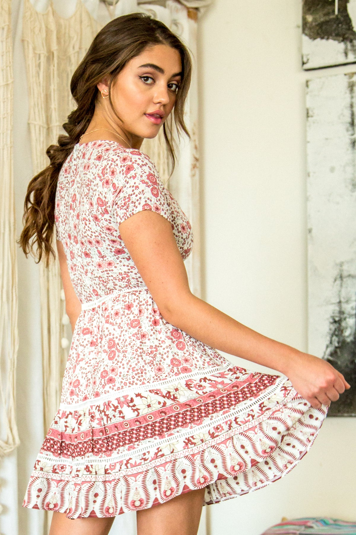 Betsy Boho Ruffled Mini Dress