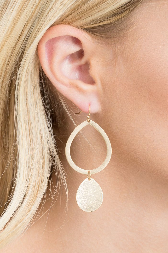 Matte Gold Teardrop Dangle Earrings - Geegeebae