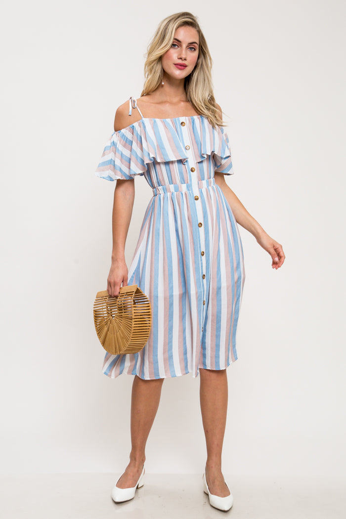 Pastel Striped Button-Down Midi Dress
