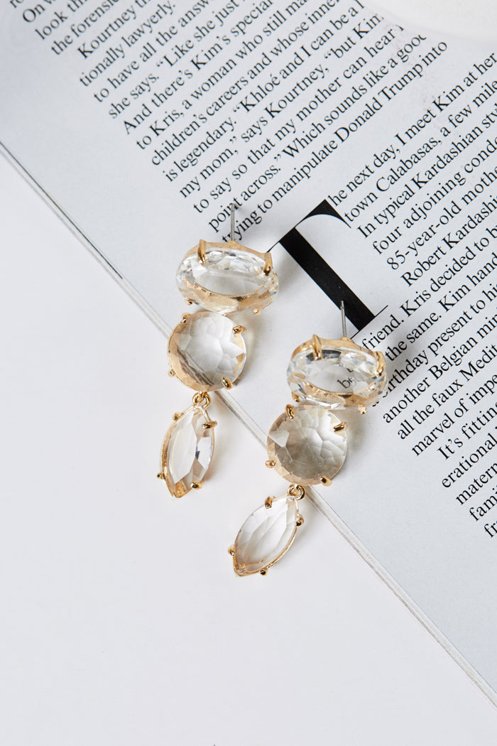 Clear Stone Triple Drop Earrings - Geegeebae