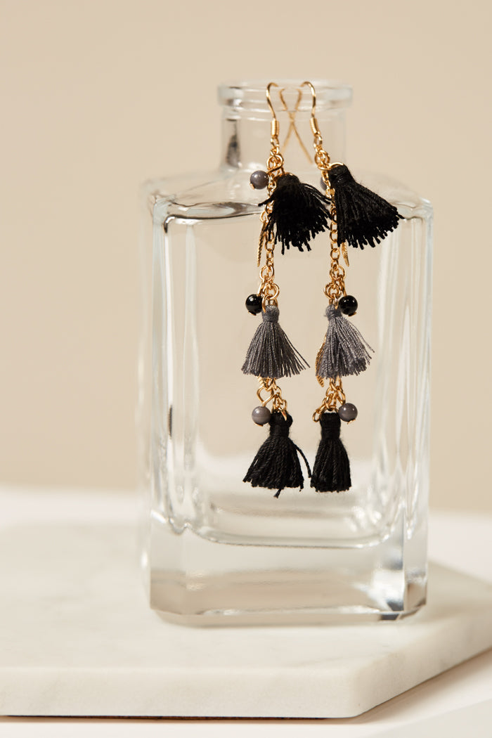 Black Tassel Gold Chain Earrings - Geegeebae