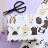 Xmas dog santa hats and antlers wrapping paper